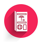 White Travel brochure icon isolated with long shadow. Red circle button. Vector Illustration