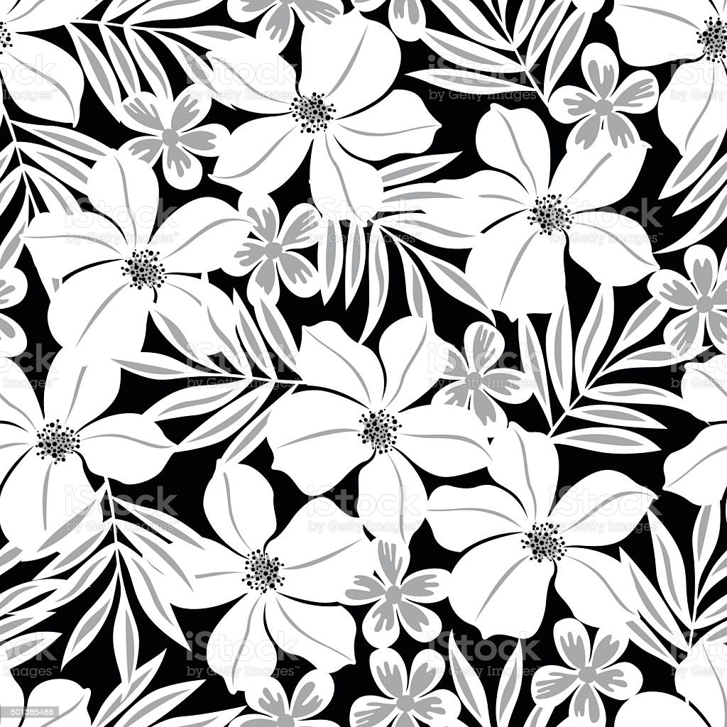 White tropical flower on a black background seamless pattern stock white tropical flower on a black background seamless pattern royalty free white tropical flower on mightylinksfo