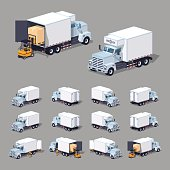 White truck refrigerator. 3D lowpoly isometric vector illustration. The set of objects isolated against the grey background and shown from different sides