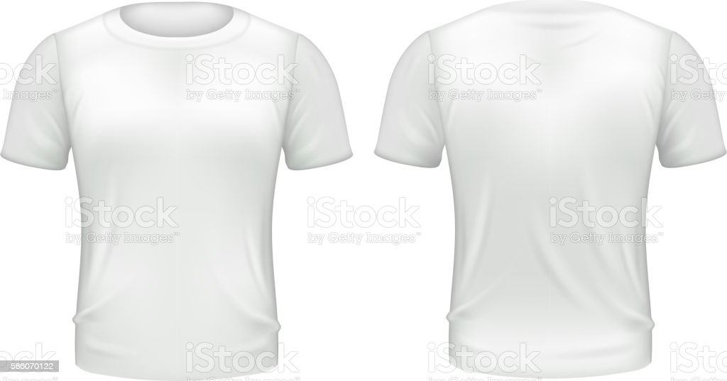 T Shirt Template Black Front And Back | White Tshirt Front Back Template Realistic 3d Isolated Vector Stock