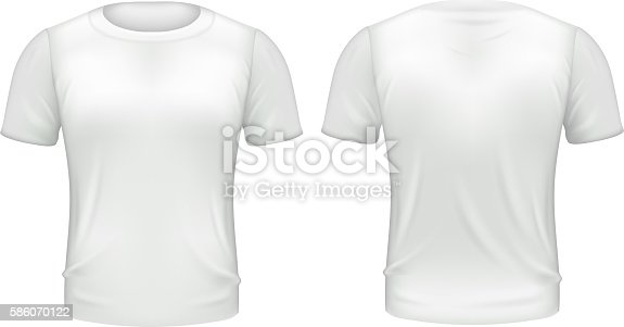 White tshirt front back template realistic 3d isolated for White t shirt template front and back
