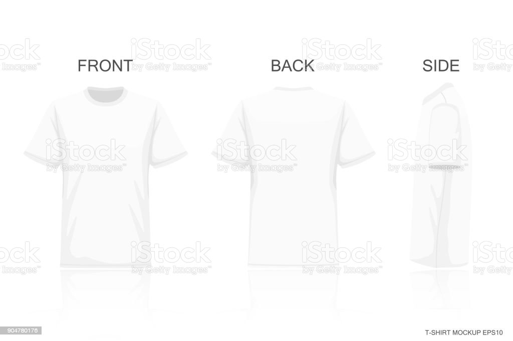 White T-Shirt Isolated on Gray background , Front side back view for your creative design pattern on shirt , mockup for presentaion advertising , illustration vector vector art illustration