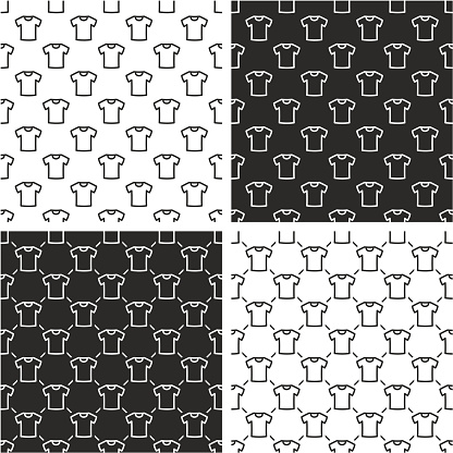 White T-shirt Seamless Pattern Set