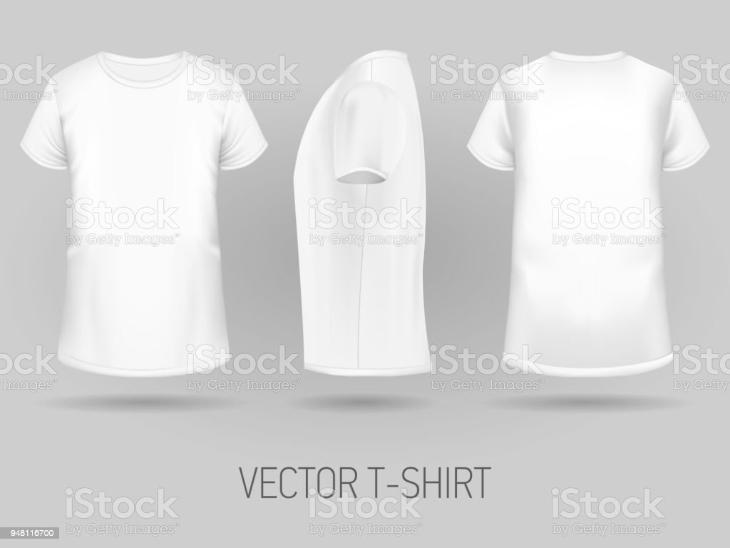 White Tshirt Template In Three Dimentions Stock Vector Art More