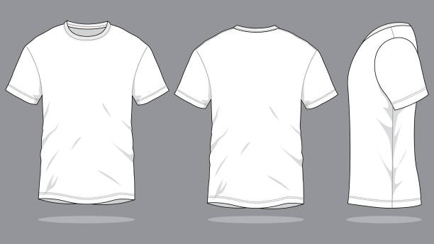 White T-Shirt Vector for Template Front and Back View white t shirt stock illustrations