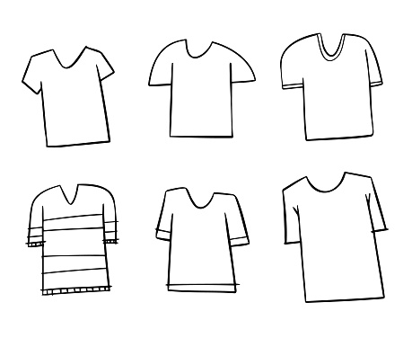 White t-shirts cartoon drawings