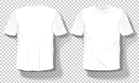 White T-shirts template Set isolated, hand drawn tee shirts transparent background. Blank vector mockup advertising template.