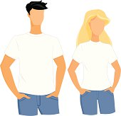 Male and female t-shirt templates on the models. Place the image or design on a t-shirt.
