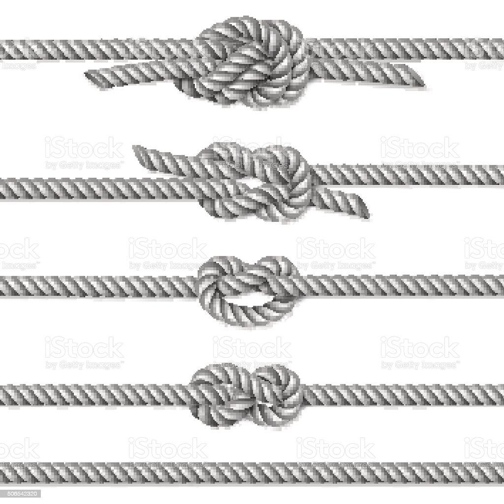 White twisted rope border set, isolated on white vector art illustration
