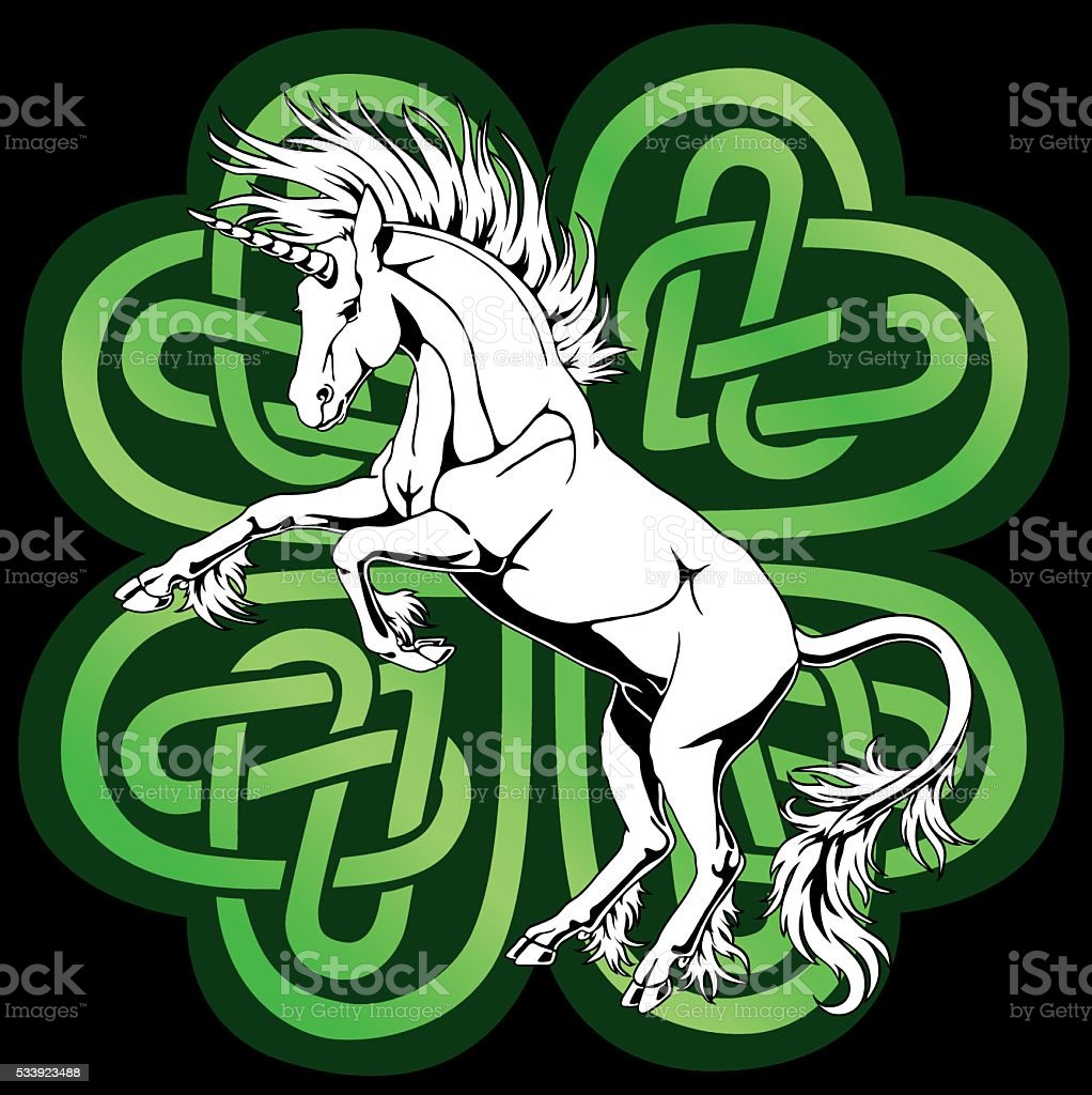 Белый единорог с кельтским clover векторная иллюстрация