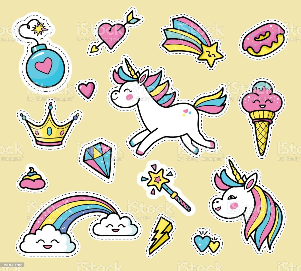 White unicorn badge vector set. vector art illustration