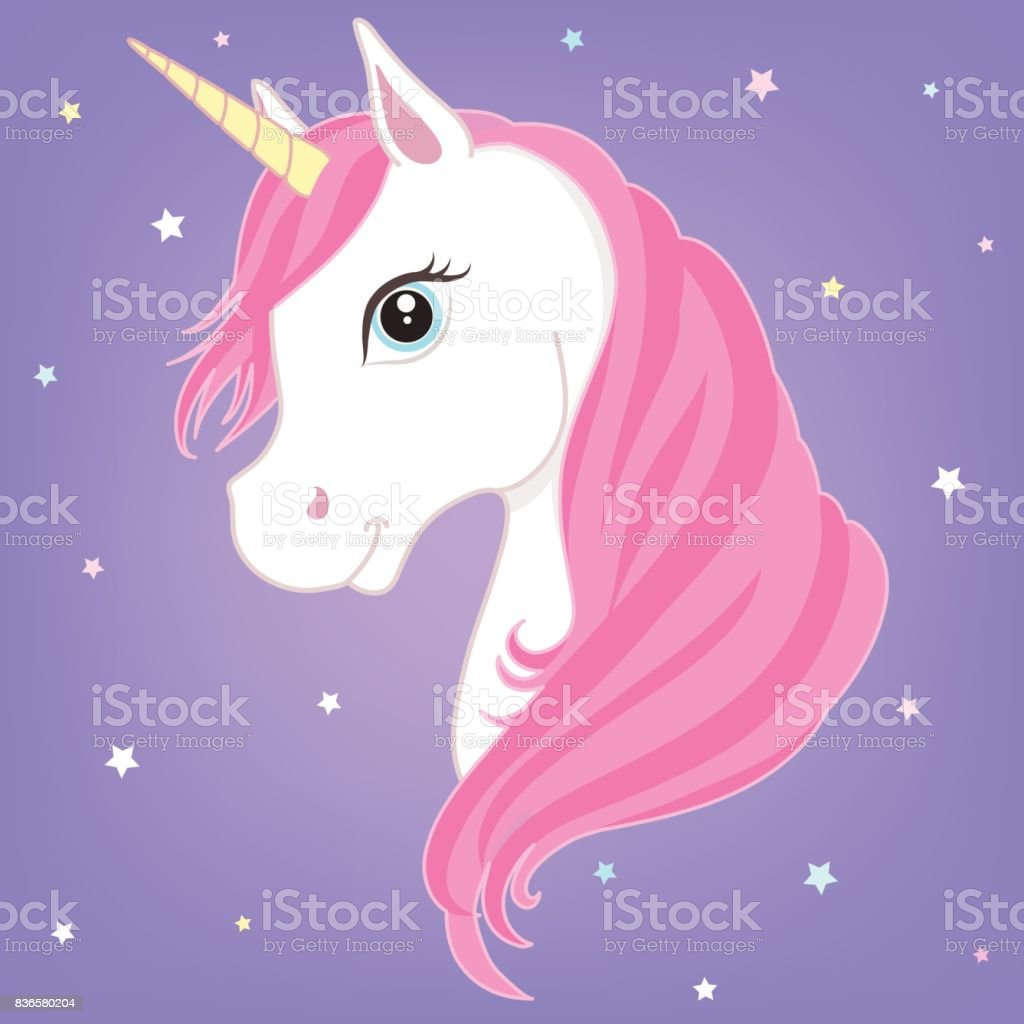 White unicorn head with horn. vector art illustration