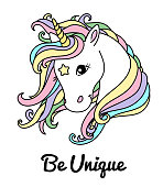 White unicorn vector head for shirt. Text: Be unique. Cute unicorn with big eyes.