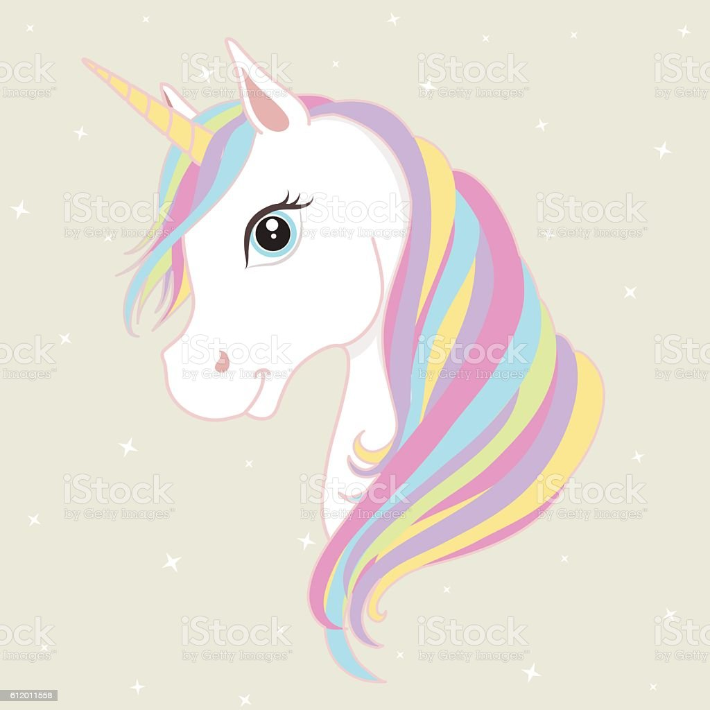 White unicorn vector head with mane and horn. Vector illustration. vector art illustration