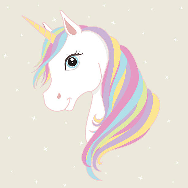 White unicorn vector head with mane and horn. Vector illustration. - ilustración de arte vectorial