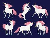 istock White unicorn with pink mane. Cartoon pretty unicorn horse with rose mane for girls t-shirt design vector illustration 1071883342