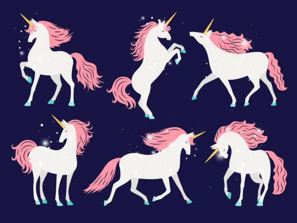 White unicorn with pink mane. Cartoon pretty unicorn horse with rose mane for girls t-shirt design vector illustration White unicorn with pink mane. Cartoon pretty unicorn horse isolated on background with rose mane for girls t-shirt design vector illustration unicorn stock illustrations