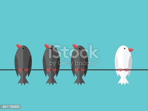 Single white unique bird perching on wire aside of many black ones on blue sky background. Courage, will power and individuality concept. Flat design. EPS 8 vector illustration, no transparency
