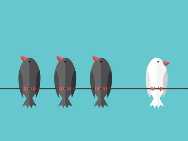 Weißer einzigartige unabhängige Vogel – Vektorgrafik