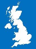 White United Kingdom map on blue background, Vector Illustration