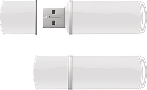 White USB flash storage Vector template of white USB flash drive. usb stick stock illustrations