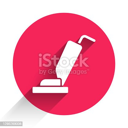 White Vacuum cleaner icon isolated with long shadow. Red circle button. Vector.