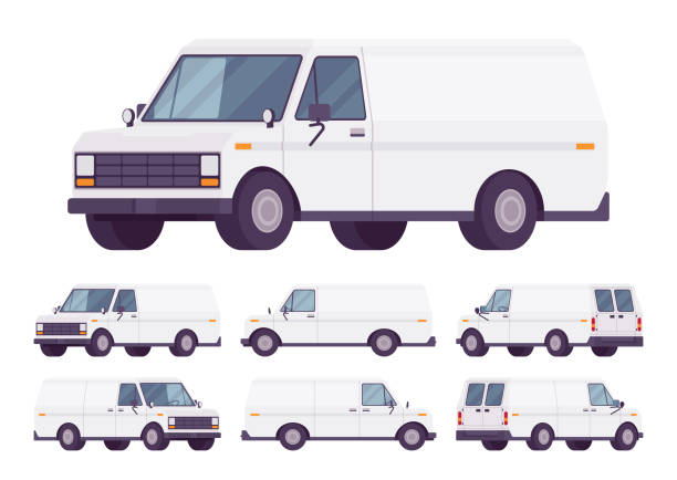 weißer lieferwagen satz - vans stock-grafiken, -clipart, -cartoons und -symbole