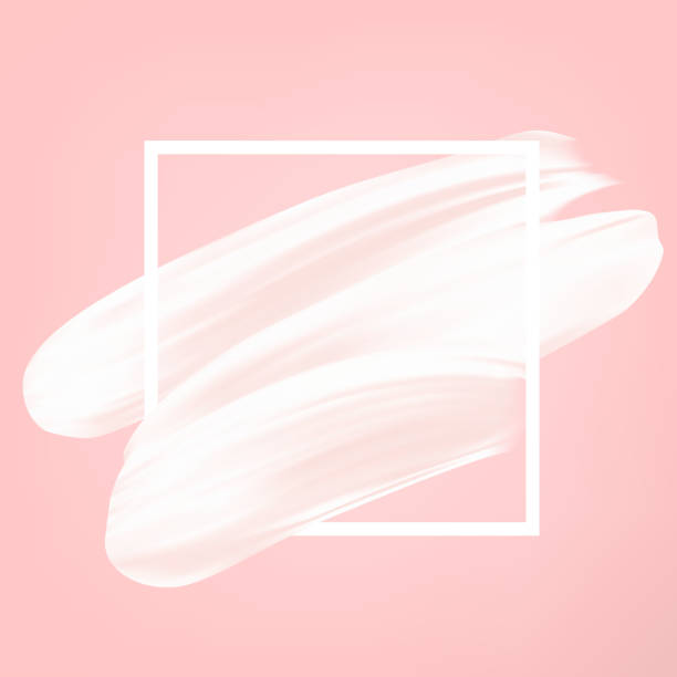 white vector abstract smear on pink. female girly icon. paint brush stroke in frame, banner template. - artsy backgrounds stock illustrations