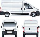 White vector delivery van