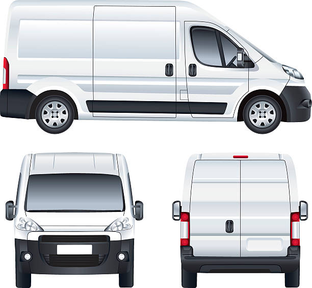 White vector delivery van Vector service car template. White blank commercial vehicle - delivery van. (simple gradients only, no gradient mesh) van vehicle stock illustrations