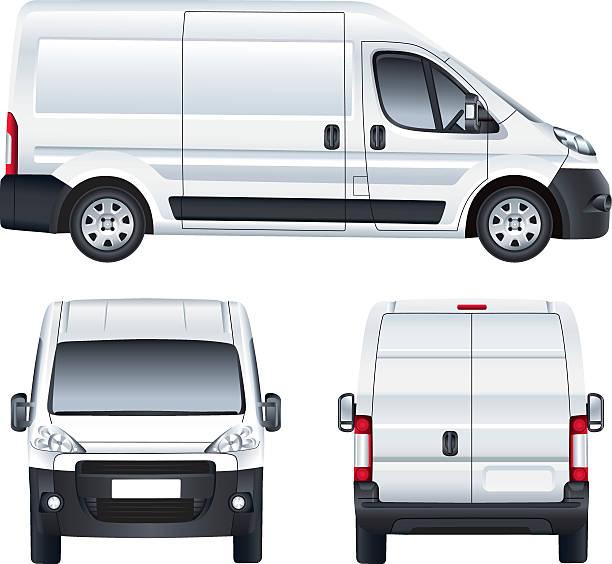 illustrazioni stock, clip art, cartoni animati e icone di tendenza di furgone di consegna bianco vettoriale - transport truck tyres
