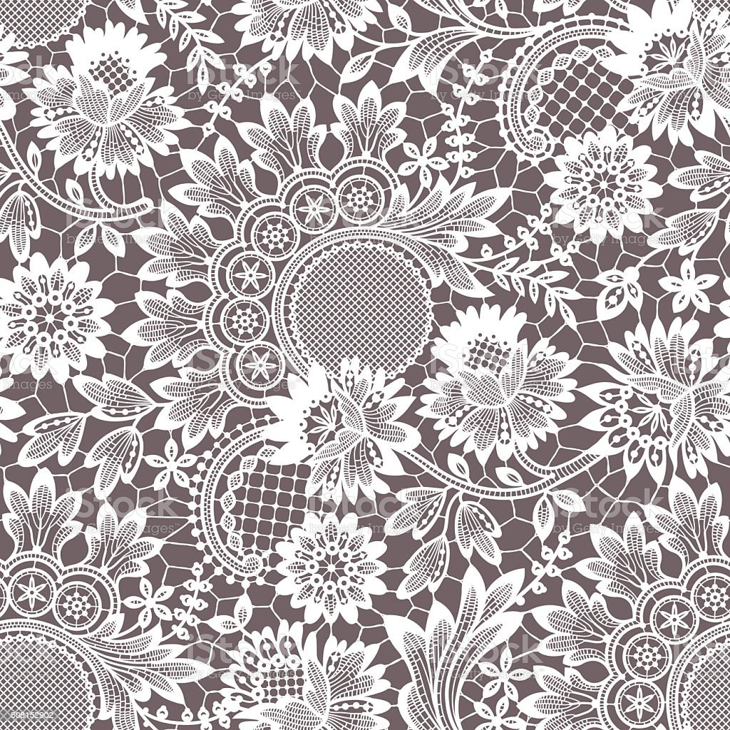 White Vector Lace. Seamless Pattern. vector art illustration