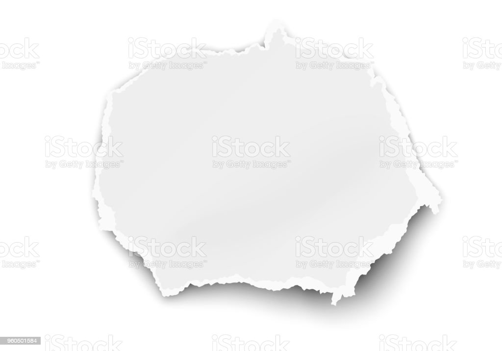 White vector oval paper tear for memo note isolated on white background vector art illustration