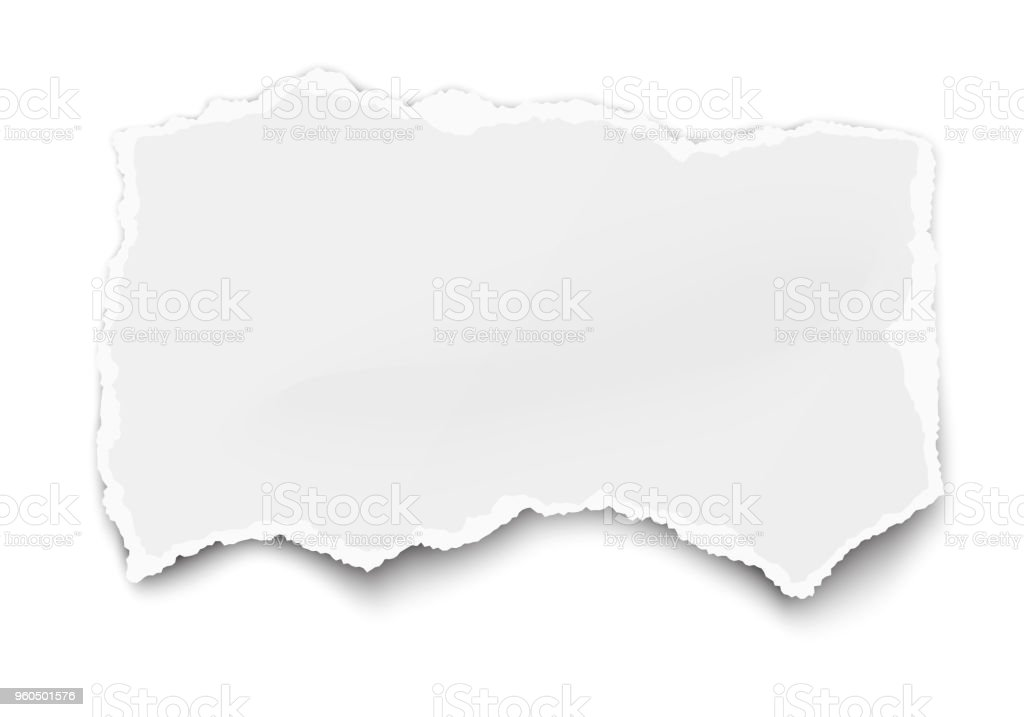 White vector paper tear for memo note with soft shadow isolated on white vector art illustration