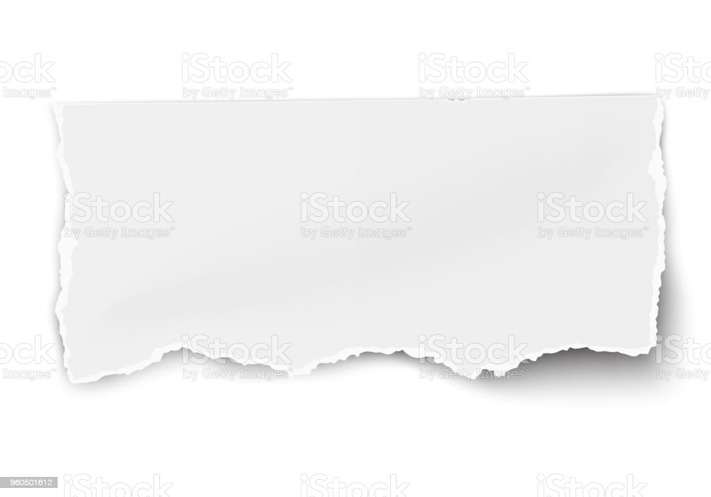 White vector paper tear with soft shadow isolated on whiteWhite vector paper tear with soft shadow isolated on white vector art illustration