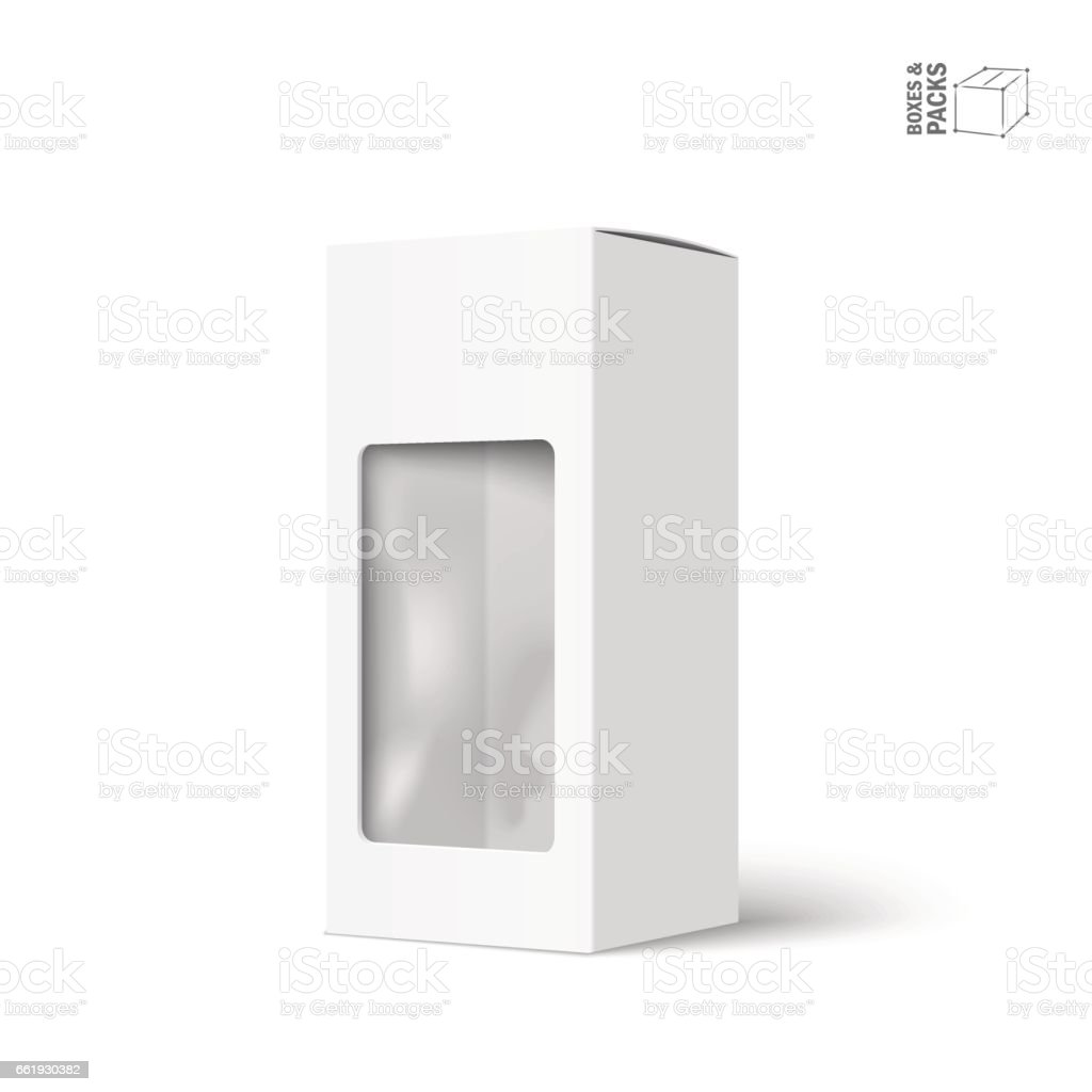 White vector product package box with window vector art illustration