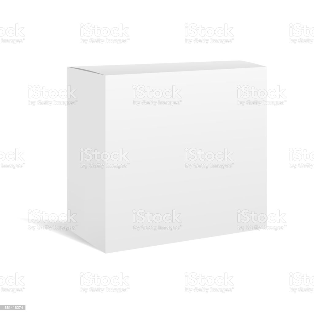 White vector realistic box package mockup vector art illustration