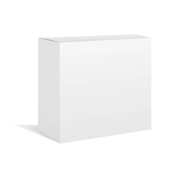 white vector realistic box package mockup - boxes stock illustrations, clip art, cartoons, & icons