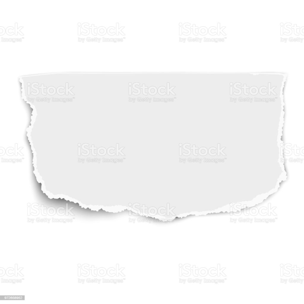White vector rectangular paper tear with soft shadow isolated vector art illustration