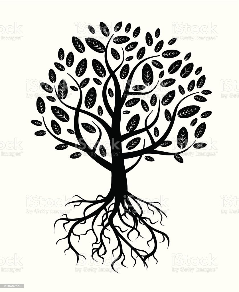 white vector tree and roots vector art illustration
