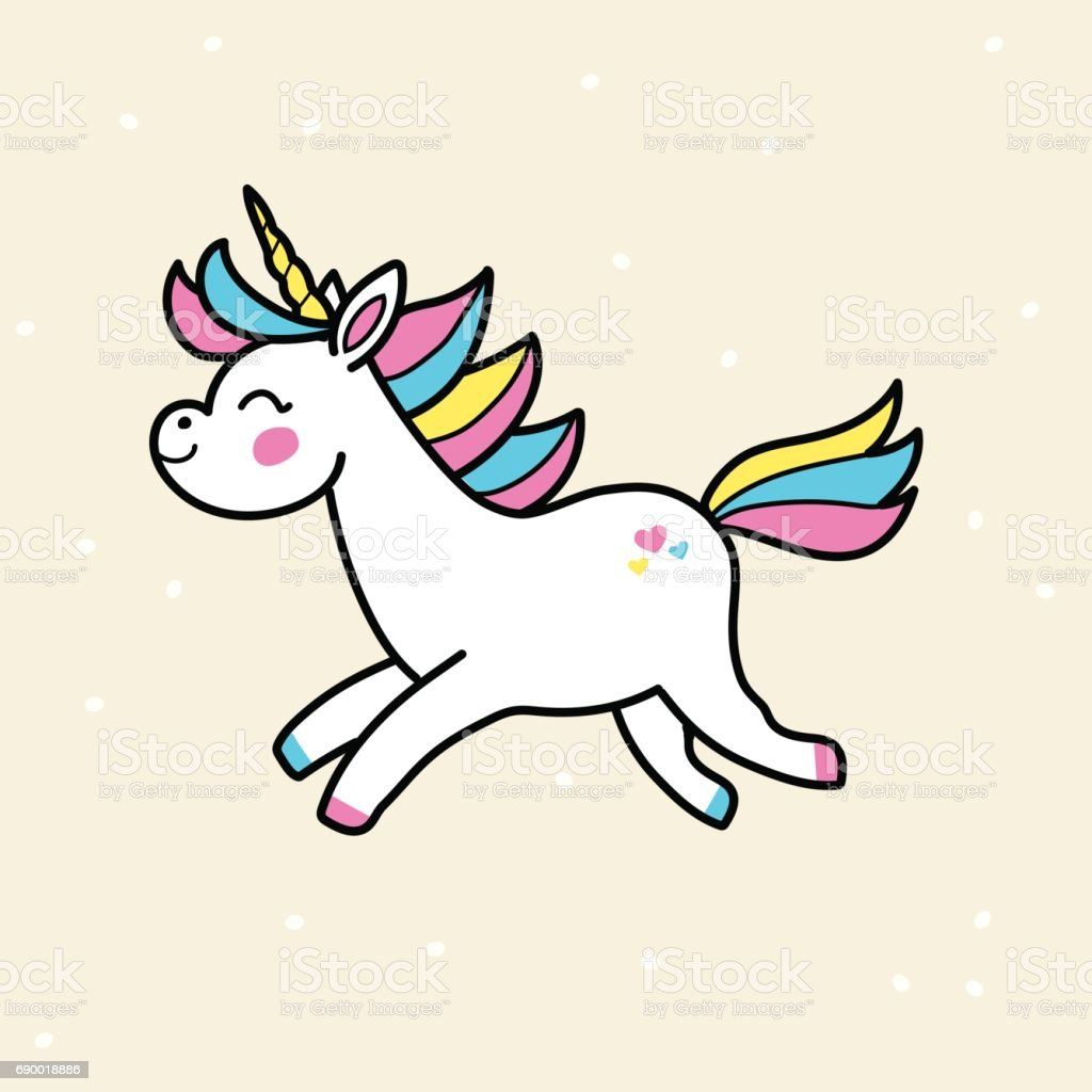 White vector unicorn. Running unicorn badge. vector art illustration