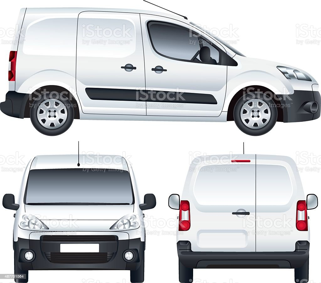 White vector van vector art illustration