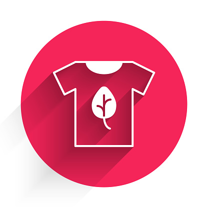 White Vegan shirt icon isolated White background. Red circle button. Vector