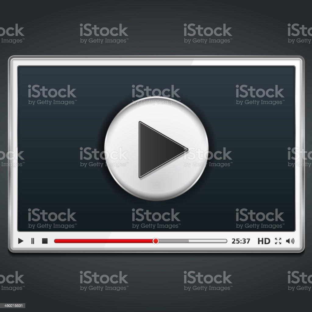 White Video Player vector art illustration