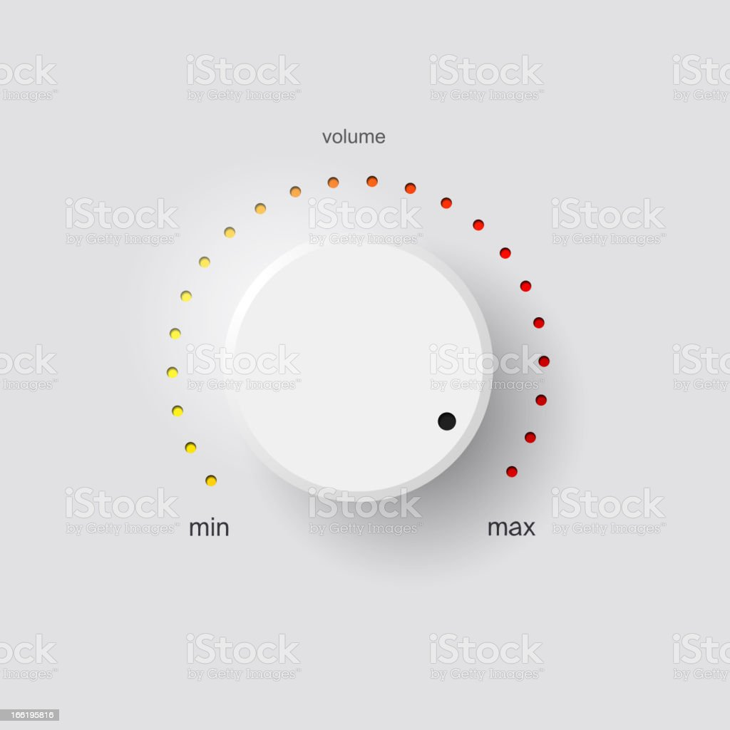 White volume control with red and yellow tick marks vector art illustration