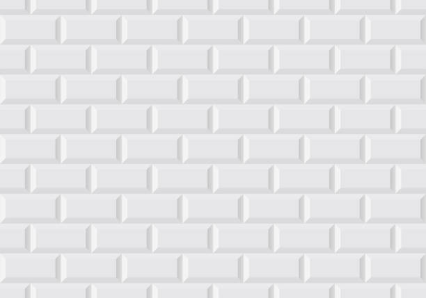 White wall tile like in the Parisian subway Vector seamless illustration of white wall tile like in the Parisian subway bathroom patterns stock illustrations