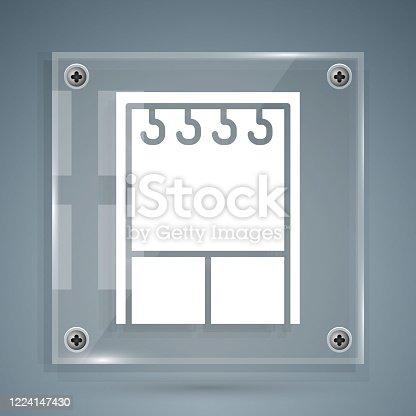 istock White Wardrobe icon isolated on grey background. Square glass panels. Vector Illustration 1224147430