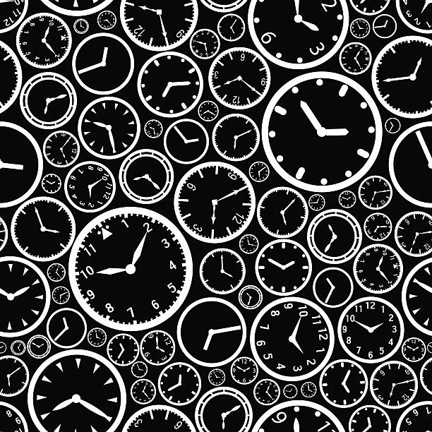 white watch dial and black background seamless pattern eps10 vector art illustration