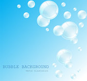 White water bubbles with reflection set on transparent background vector illustration