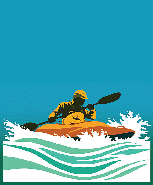 white water kayaking competition - kayaking stock illustrations, clip art, cartoons, & icons
